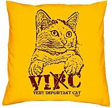 Kissen mit Füllung :: VIC Very Important Cat Katzen-Motiv :: Dekokissen Sofakissen Couchkissen 40 x 40 cm Tolle Geschenkidee zum Geburtstag Geschenk für Tierliebhaber Farbe: gelb