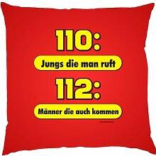 Kissen mit Innenkissen - 110: Jungs die man ruft - 112: Männer die kommen - FFW - 40 x 40 cm - in ro