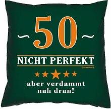 Kissen mit Innenkissen - 50 - nicht perfekt aber verdammt nahe dran! - zum 50. Geburtstag Geschenk - 40 x 40 cm - in dunkel-grün