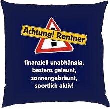 Kissen mit Innenkissen - Achtung Rentner! - für rüstige Rentner zum Geburtstag - 40 x 40 cm - in navy-blau