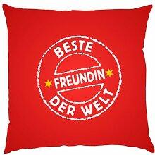 Kissen mit Innenkissen - Beste Freundin der Welt! - 40 x 40 cm - in ro
