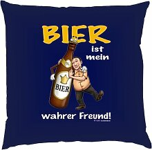 Kissen mit Innenkissen - Bier ist mein wahrer Freund! - Biertrinker - 40 x 40 cm - in navy-blau