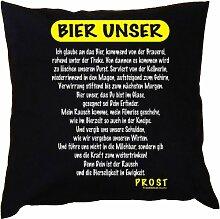Kissen mit Innenkissen - Biertrinker - Bier unser - mit 40 x 40 cm - in schwarz : )