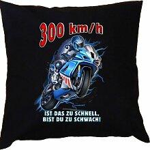 Kissen mit Innenkissen - Biker - 300km/h - Ist das zu schnell, bist Du zu schwach - mit 40 x 40 cm - in schwarz : )