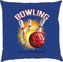 Kissen mit Innenkissen - Bowling - 40 x 40 cm - in royal-blau