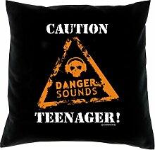 Kissen mit Innenkissen - Caution Teenager - mit 40 x 40 cm - in schwarz : )