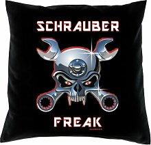 Kissen mit Innenkissen - Custom - Schrauber Freak - mit 40 x 40 cm - in schwarz : )