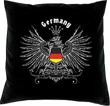 Kissen mit Innenkissen - Deutschlandfahne - Germany - mit 40 x 40 cm - in schwarz : )