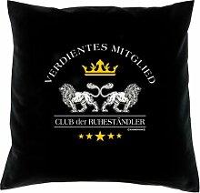 Kissen mit Innenkissen - für rüstige Rentner - Verdientes Mitglied - Club der Ruheständler - mit 40 x 40 cm - in schwarz : )