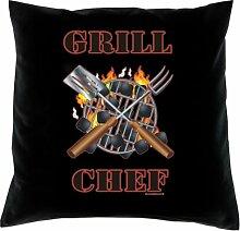 Kissen mit Innenkissen - Grillbegeisterte - Grill Chef - mit 40 x 40 cm - in schwarz : )