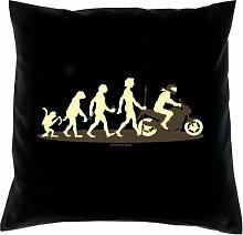 Kissen mit Innenkissen - Homo Stupidus: Motorradfahrer - mit 40 x 40 cm - in schwarz : )