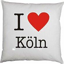 Kissen mit Innenkissen - I love Köln - mit 40 x 40 cm - in weiß : )