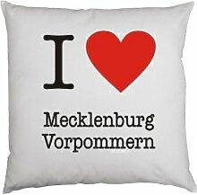 Kissen mit Innenkissen - I love Mecklenburg Vorpommern - mit 40 x 40 cm - in weiss : )