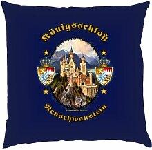 Kissen mit Innenkissen - Königsschloss Neuschwanstein - Biertrinker - 40 x 40 cm - in navy-blau