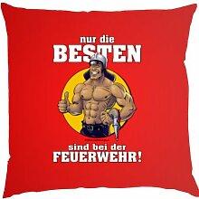 Kissen mit Innenkissen - Nur die Besten sind bei der Feuerwehr! - FFW - 40 x 40 cm - in ro