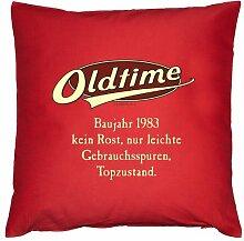 Kissen mit Innenkissen - OLDTIMER BAUJAHR 1983 - kein Rost, nur leichte Gebrauchsspuren, Topzustand. - zum 32. Geburtstag Geschenk - 40 x 40 cm - in ro
