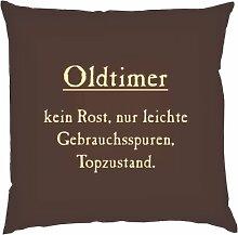 Kissen mit Innenkissen - Oldtimer kein Rost... - für rüstige Rentner zum Geburtstag - 40 x 40 cm - in schoco-braun