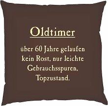 Kissen mit Innenkissen - Oldtimer - über 60 Jahre gelaufen, kein Rost, nur leichte Gebrauchsspuren, Topzustand. - zum 60. Geburtstag - 40 x 40 cm - in schoco-braun