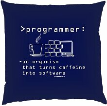Kissen mit Innenkissen - programmer: an organism that turns … - Programmierer - 40 x 40 cm - in navy-blau
