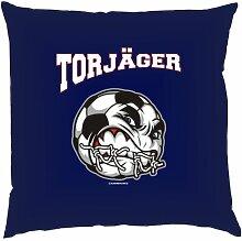 Kissen mit Innenkissen - Torjäger - Fußballer - 40 x 40 cm - in navy-blau