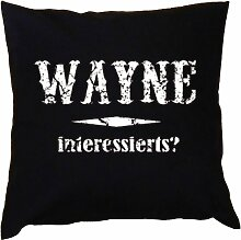 Kissen mit Innenkissen - Wayne interessierts? - mit 40 x 40 cm - in schwarz : )