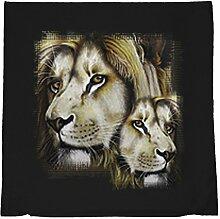 Kissen mit Innenkissen - Wildlife - Löwe Löwen - mit 40 x 40 cm - in schwarz :)