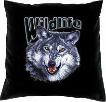 Kissen mit Innenkissen - Wildlife - Wolf - mit 40 x 40 cm - in schwarz : )