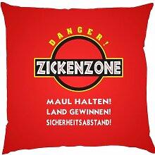 Kissen mit Innenkissen - Zickenzone - 40 x 40 cm - in ro