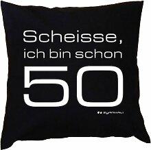 Kissen mit Innenkissen - zum 50. Geburtstag - Scheisse ich bin schon 50 - mit 40 x 40 cm - in schwarz : )