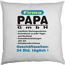 Kissen mit Innenkissen - zum Vatertag - Firma PAPA GmbH... - mit 40 x 40 cm - in weiß : )