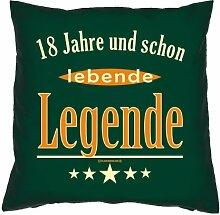 Kissen mit Innenkissen zur Volljährigkeit - 18 Jahre und schon lebende Legende - zum 18. Geburtstag Geschenk - 40 x 40 cm - in dunkel-grün
