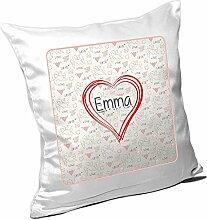 Kissen mit Namen Emma und schönem Herz mit vielen