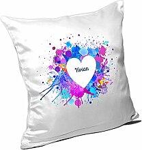 Kissen mit Namen Vivian und schönem Motiv mit Wasserfarben-Herz zum Valentinstag - Namenskissen - Kuschelkissen - Schmusekissen