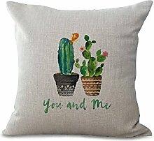 Kissen Pads 45,7x 45,7cm/45Pflanzen Serie Colorful handgemaltes Kaktus grau beige Baumwolle Leinen Kissenbezug für Sofa Home Shop Bar Club Auto Katze Hund Bett Decor my-p1044–01 #05