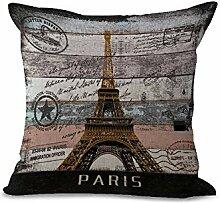 Kissen Pads 45,7x 45,7cm/45World Architektur Serie Eiffelturm Freiheitsstatue Big Ben Baumwolle Leinen Kissenbezug für Sofa Home Shop Bar Club Auto Katze Hund Bett Decor my-l1002–01 #02 Paris