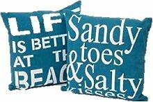 """Kissen-Set mit maritimem Design und englischsprachiger Aufschrift–""""Sandy Toes...""""/""""Life Is Better..."""", 2 Stück"""