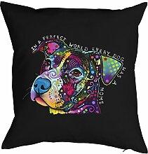 Kissen/Sofa-Kissen mit Füllung/Neon-Hunde-Druck: In A Perfect World - für Hundefreunde