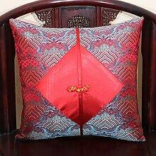 Kissen Sofa Klassische Silk Pipa Button Kissen Office Lumbal Kissen Bett Rückenlehne Auto Kissen Taille Kissen Pillow ( Farbe : 4# , größe : 45*45cm )