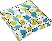 Kissen Stuhl Kissen Weiß Blau Braun Branchlets Gelbe Punkte Esszimmer Stuhl Kissen Sitz Kissen Quadrat Kissen Größe: 50 * 50cm
