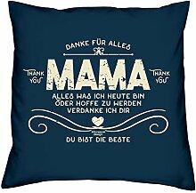 Kissen und Urkunde : Danke Mama : Persönliches Muttertagsgeschenk : Geschenk Mutter : Geschenkidee Muttertag Kissenhülle Kissenfüllung 40x40Farbe: navy-blau