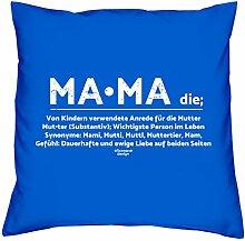 Kissen und Urkunde : Mama : Persönliches Muttertagsgeschenk : Geschenk Mutter : Geschenkidee Muttertag Kissenhülle Kissenfüllung 40x40Farbe: royal-blau