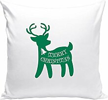 Kissen Weihnachten Rentier Motiv 40x40cm Füllung Dekokissen Geschenkidee X-MAS, weiss-grün