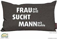 Kissen Zitat Frau mit Grill ... - anthrazit 30x50 Made in Germany