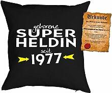 Kissen zum 41. Geburtstag Geschenkidee Kissen mit Füllung Super Heldin seit 1977 Polster zum 41 Geburtstag für 41-jährige Dekokissen mit Urkunde