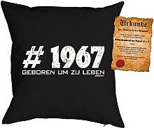 Kissen zum 50. Geburtstag Geschenkidee Kissen mit Füllung #1967 Geboren um zu leben Polster zum 50 Geburtstag für 50-jährige Dekokissen mit Urkunde