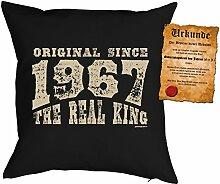 Kissen zum 50. Geburtstag Geschenkidee Kissen mit Füllung Original since 1967 Real King Polster zum 50 Geburtstag für 50-jährige Dekokissen mit Urkunde