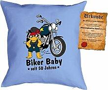 Kissen zum 51. Geburtstag Geschenkidee Kissen mit Füllung Biker Baby seit 50 Jahren Polster zum 51 Geburtstag für 51-jährige Dekokissen mit Urkunde