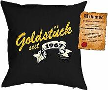Kissen zum 51. Geburtstag Geschenkidee Kissen mit Füllung Goldstück seit 1967 Polster zum 51 Geburtstag für 51-jährige Dekokissen mit Urkunde