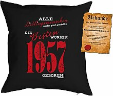 Kissen zum 60. Geburtstag Geschenkidee Kissen mit Füllung Lieblingsmensch 1957 geboren Polster zum 60 Geburtstag für 60-jährige Dekokissen mit Urkunde