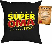 Kissen zum 60. Geburtstag Geschenkidee Kissen mit Füllung Super Oma since 1957 Polster zum 60 Geburtstag für 60-jährige Dekokissen mit Urkunde